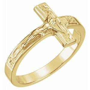 10K Yellow 15 mm Crucifix Chastity Ring Size 8
