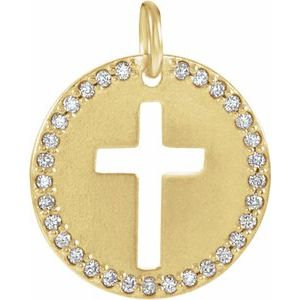 14K Yellow .08 CTW Diamond Pierced Cross Disc Pendant