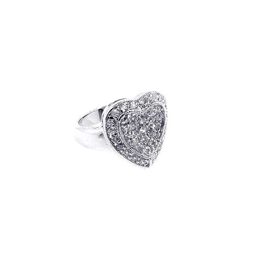 925 Rhodium Plated Pave Set Clear CZ Solid Heart Ring