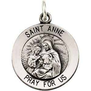 Sterling Silver 15 mm St. Anne Medal