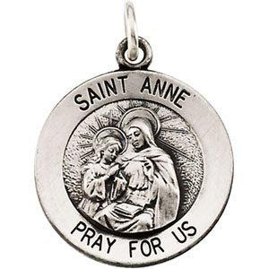 14K White 15 mm St. Anne Medal