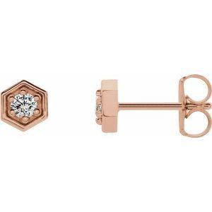 14K Rose 1/8 CTW Diamond Hexagon Stud Earrings