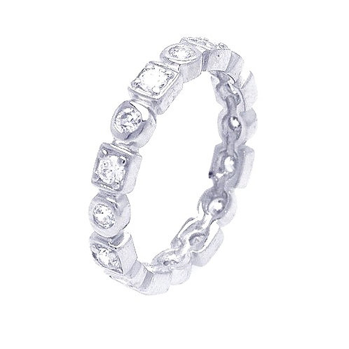 925 Rhodium Plated Clear Square Round CZ Stackable Eternity Ring