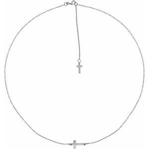 14K White 1/10 CT Diamond Sideways Cross Necklace