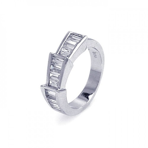 925 Rhodium Plated Clear Baguette CZ Ring