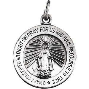 14K White 15 mm Miraculous Medal