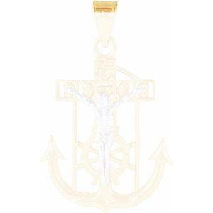 14K Yellow & White 21.5x18 mm Mariner's Crucifix Pendant