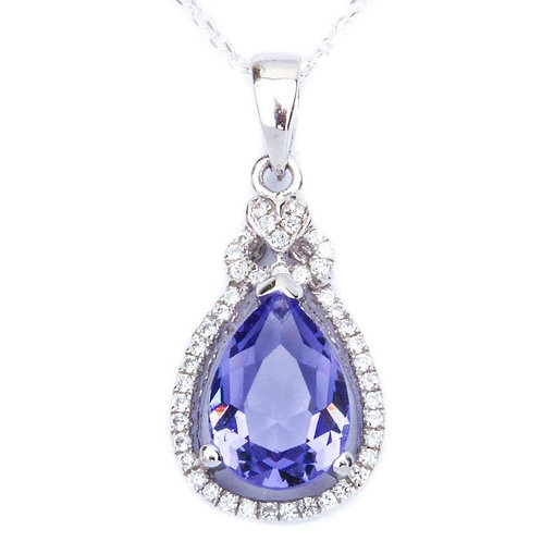 Pear Cut Tanzanite and Cz With Heart Pendant