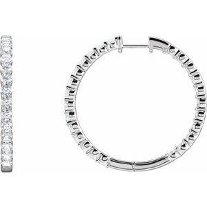 14K White 4 CTW Lab-Grown Diamond Inside-Outside Hinged 36 mm Hoop Earrings
