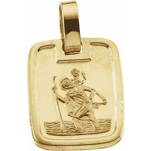 14K Yellow 13.1x11.2 mm St. Christopher Medal