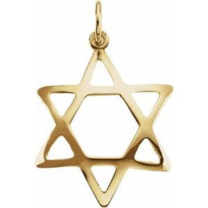 14K Yellow 25.2x17.2 mm Domed Star of David Pendant