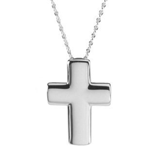 "Sterling Silver The Covenant of Prayer Unadorned Cross 18"" Necklace"