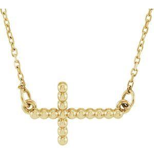 "14K Yellow 12.05x19.5 mm Sideways Beaded Cross 16.5"" Necklace"
