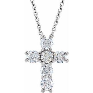 "14K White 3/4 CTW Diamond Cross 18"" Necklace"