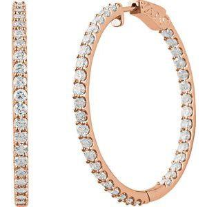 14K Rose 5 CTW Diamond Inside-Outside 41.5 mm Hoop Earrings