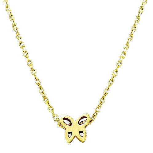 925 Gold Plated Mini Butterfly Pendant Necklace