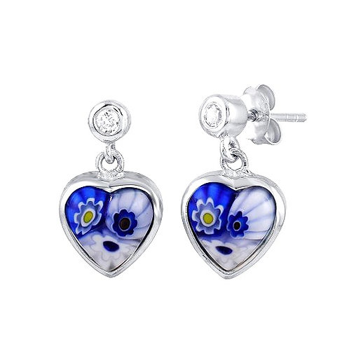 925 Rhodium Plated Blue Murano Glass CZ Heart Earring