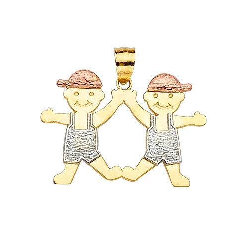 14K 3Color Boy-Boy Pendant