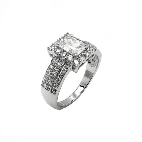Rectangular Center Round Side Cubic Zirconia Sterling Silver Engagement Ring