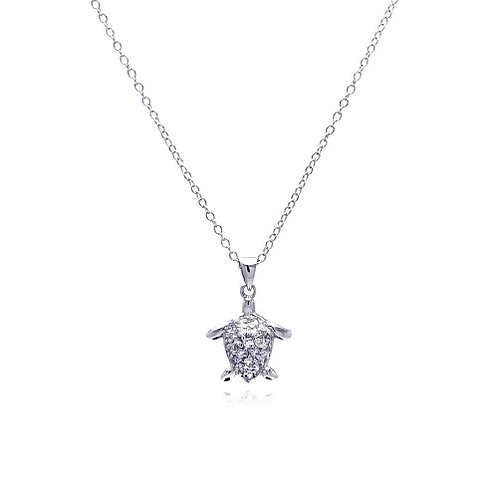 925 Rhodium Plated Clear CZ Turtle Pendant Necklace