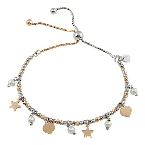 925 2 Toned Plated Multi Chain Stars Leaves Beaded Lariat Bracelet
