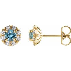 14K Yellow Aquamarine & 1/5 CTW Diamond Earrings