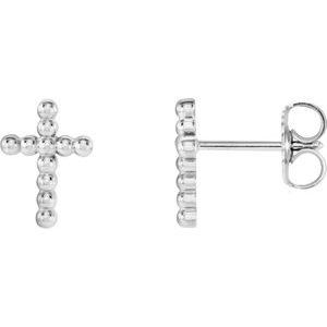 14K White Beaded Cross Earrings