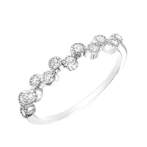 White Round Cubic Zirconia Sterling Silver Rhodium Plated Ring