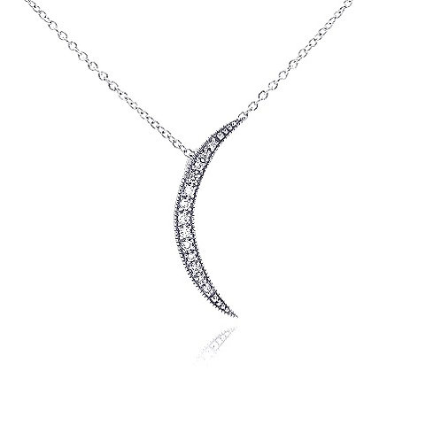 925 Clear CZ Rhodium Plated Moon Pendant Necklace