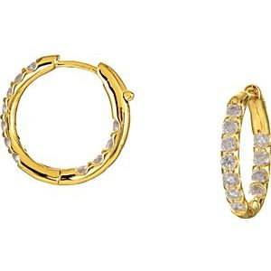 14K Yellow 1 1/8 CTW Diamond Inside-Outside Hinged 18.5 mm Hoop Earrings