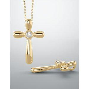 14K Rose .10 CT Diamond Cross Pendant