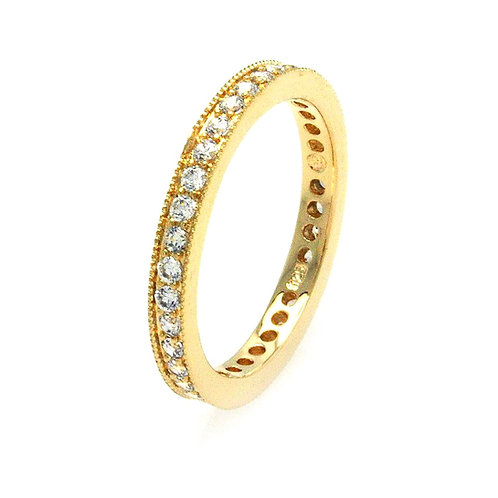 Stackable Cubic Zirconia Sterling Silver Gold Plated Eternity Ring Band