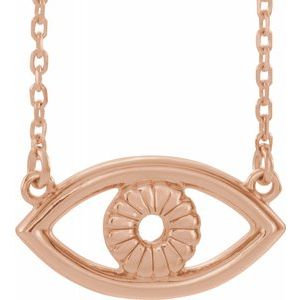 "14K Rose Evil Eye 18"" Necklace"