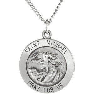 Sterling Silver 15 mm St. Michael Medal Necklace