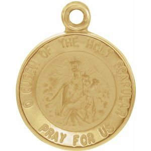 14K Yellow 12 mm Round Scapular Medal
