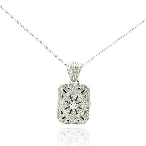 925 Clear CZ Rhodium Plated Double Square Locket Pendant Necklace