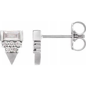 14K White 1/4 CTW Diamond Geometric Earrings