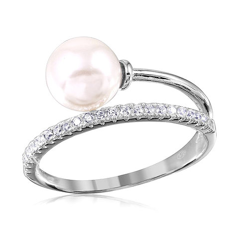 Pearl Cubic Zirconia Sterling Silver Overlap Ring