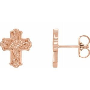 14K Rose Floral-Inspired Cross Earrings