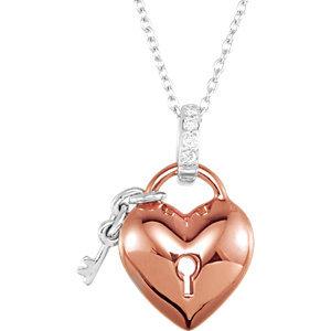 "10K Rose .05 CTW Diamond Heart 18"" Necklace"