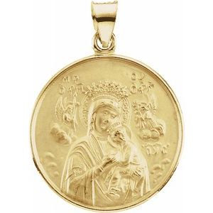 18K Yellow 13 mm Our Lady of Perpetual Help Medal