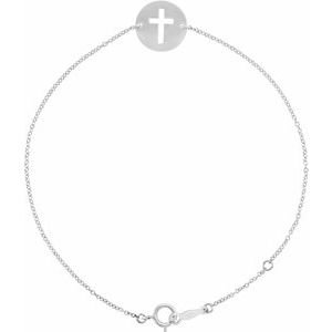 "Sterling Silver Pierced Cross Disc 7-8"" Bracelet"