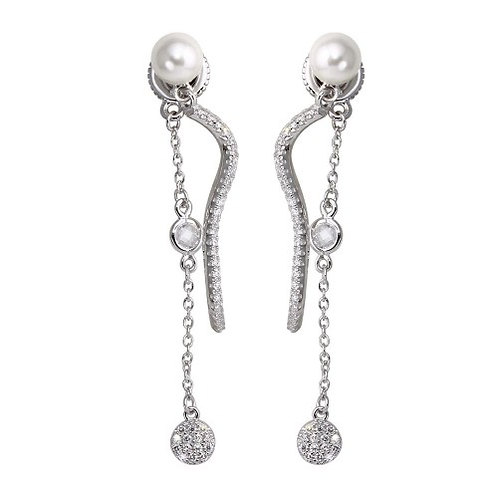 Dangling Earrings with CZ and Synthetic Pearl