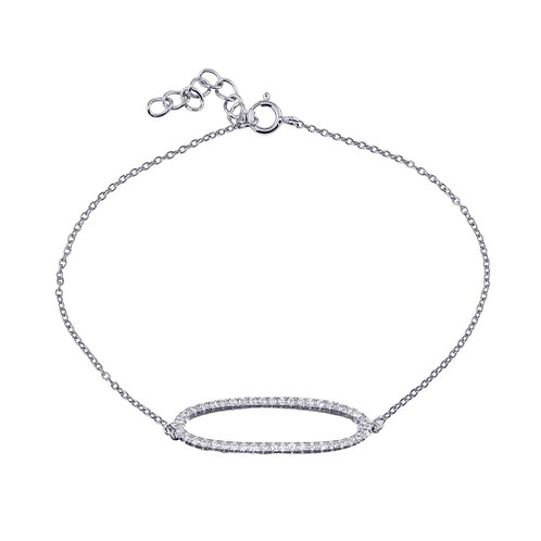 925 Rhodium Plated Open Oval Chain Bracelet