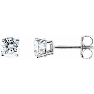 Sterling Silver 4 mm Round Cubic Zirconia Earrings