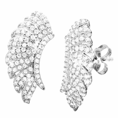 Sterling Silver Angel Wings Cubic Zirconia Rhodium Plated Climbing Earrings
