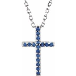 "14K White Blue Sapphire Petite Cross 16"" Necklace"