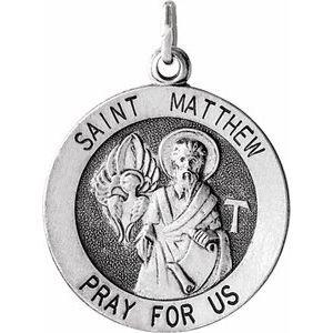 Sterling Silver 18 mm Round St. Matthew Medal