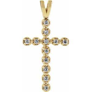 14K Yellow .18 CTW Diamond Cross Pendant
