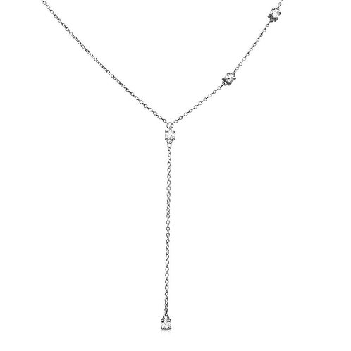 Sterling Silver Clear Round Four Cubic Zirconia Set in Drop Necklace